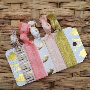 Accessories - Set of 5 Hair Ties - Gold Pink Coral Unicorn